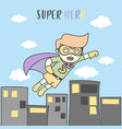 boy fly like superhero in sky city vector image