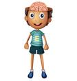 Boy with brain inside his head vector image vector image