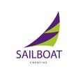 bright purple sailboat sign design modern logos vector image