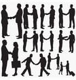 businessman-shaking-hands silhouettes vector image