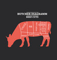 butcher diagram cow vector image