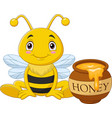 cartoon little bee with honey pot vector image vector image