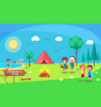 children camp bonfire nature and kids camping vector image
