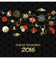 Chinese new year 2016 monkey icon decoration gold vector image