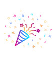 confetti party popper linear colorful icon vector image vector image
