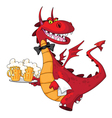 dragon waiter with beer vector image vector image