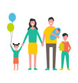 family with children holding gift box and balloons vector image