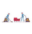 female janitor vacuum cleaning indoors vector image vector image