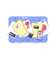 flat isolated folders documents with project and vector image vector image