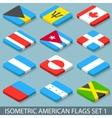 Flat Isometric American Flags Set 1 vector image