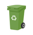 green recycle waste bin flat vector image vector image