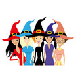 group of women in witch hats vector image vector image