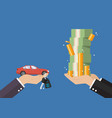 hand gives car and keys to other hand with money vector image vector image