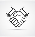 handshake partnership business flat line trendy vector image
