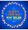 Happy Diwali background decorated with light vector image vector image