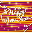 Happy New Year handwritten white swirl lettering vector image vector image