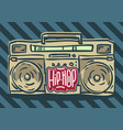 hip hop design with a hand drawn boombox ghetto vector image vector image