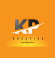 Kp k p letter modern logo design with yellow