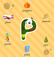 Letter P with words vector image vector image