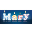 MARY written with burning candles vector image vector image