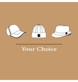 men fashion hats to choose vector image vector image