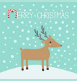 merry christmas candy cane cute cartoon deer with vector image