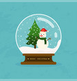 merry christmas glass ball with snowman and tree vector image