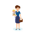 mom walks in spare time while holding little boy vector image