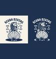 monochrome scuba diving logo vector image vector image