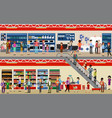 people in mall shopping center supermarket vector image