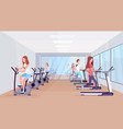 people running treadmill and riding stationary vector image