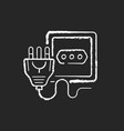 power outlet chalk white icon on black background vector image vector image