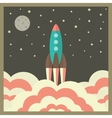 rocket takes off at night and business startup vector image vector image