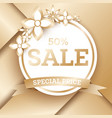 sale golden banner template with flowers and copy vector image vector image