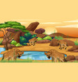scene with hyenas pond vector image vector image