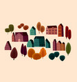 set cute houses and autumn trees vector image