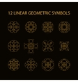 set of 12 linear geometric symbols vector image