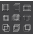Set of 9 geometric shapes squares and lines for vector image vector image