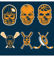 set of sports team labels with skull vector image vector image