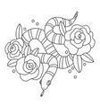 snake with roses outline vector image