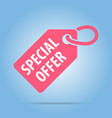 special offer tag red color vector image vector image
