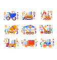 special transport set heavy industrial and vector image vector image