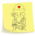 Sticky note with drawn teens couple in love vector image