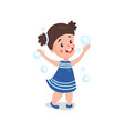 sweet cartoon brunette little girl playing with vector image vector image