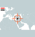 syria on world map in perspective vector image vector image