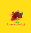thanksgiving turkey card background vector image vector image
