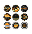 vintage labels black and yellow set 1 vector image vector image