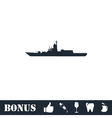 Warship icon flat vector image vector image
