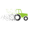 wheeled tractor dissipated pixel icon vector image vector image
