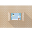 Window frame on brick background vector image vector image